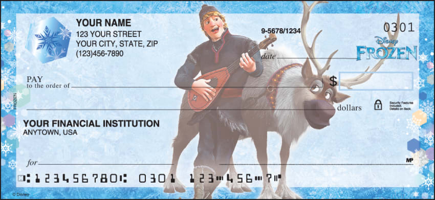 Enlarged view of disney's frozen checks