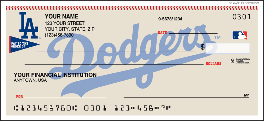 MLB - Los Angeles Dodgers Checks - click to view larger image