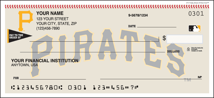 MLB - Pittsburgh Pirates Checks - click to view larger image