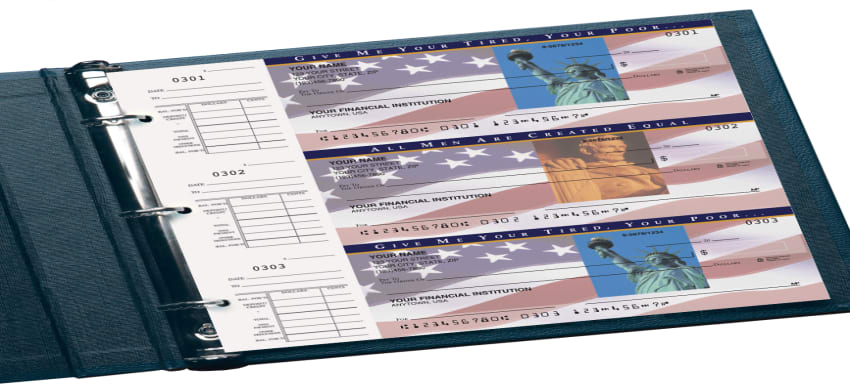 Enlarged view of Stars and Stripes  Desk Set Checks