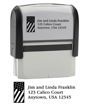 Enlarged view of flag stamper