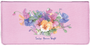 Enlarged view of Pansies Checkbook Cover