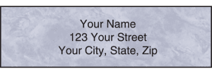 Enlarged view of royal monogram address labels