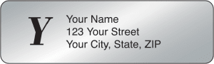 Silver Monogram Address Labels – click to view product detail page