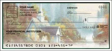 thomas kinkade churches side tear checks - click to preview