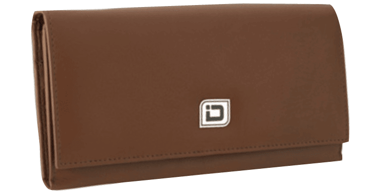 RFID Tan Leather Clutch Wallet