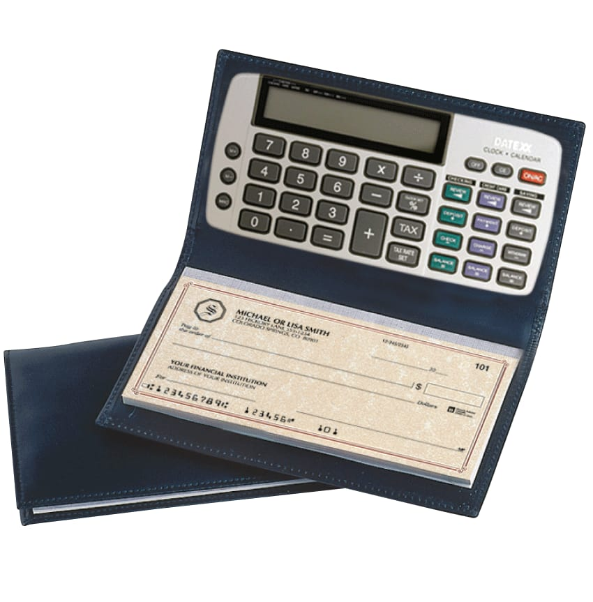 Enlarged view of Black Leather Checkbook Cover with Calculator