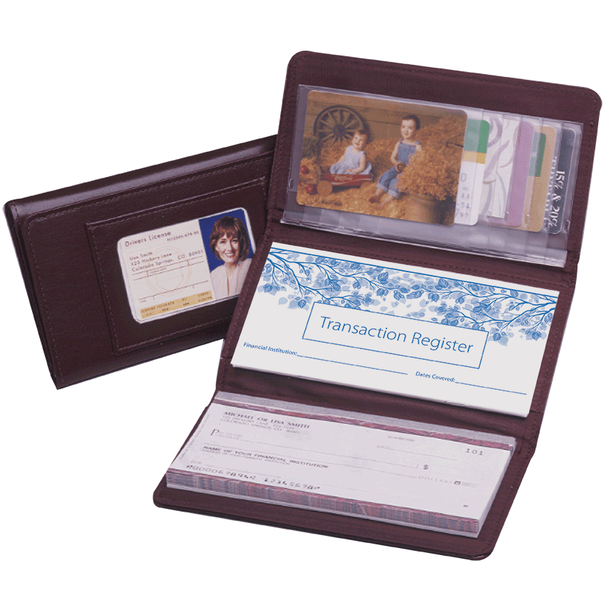 Enlarged view of Burgundy Trifold Checkbook Cover