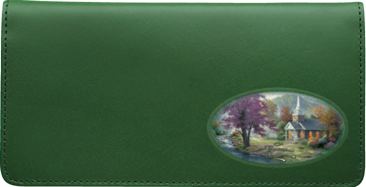 Enlarged view of Thomas Kinkade Churches Side Tear Checkbook Cover
