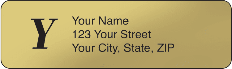 Gold Monogram Address Labels - 500 qty - click to view larger image