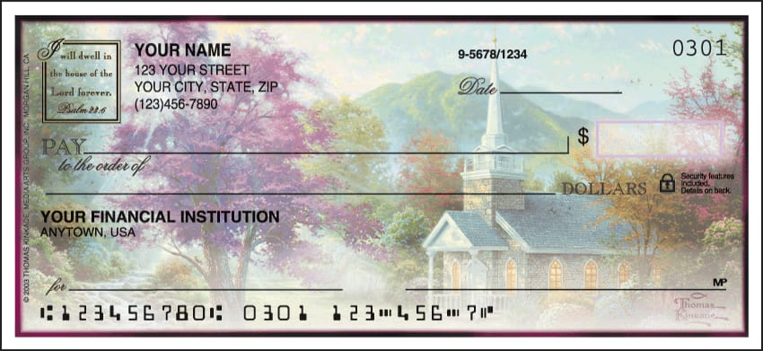 Thomas Kinkade Churches Side Tear Checks - click to view larger image