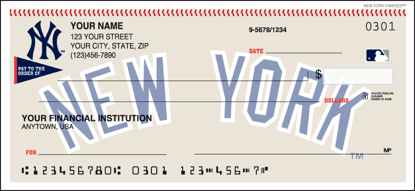 MLB - New York Yankees Checks - click to view larger image