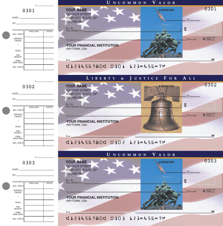 Stars and Stripes  Desk Set Checks - click to preview