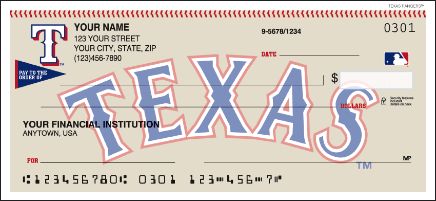 MLB - Texas Rangers Checks - click to view larger image