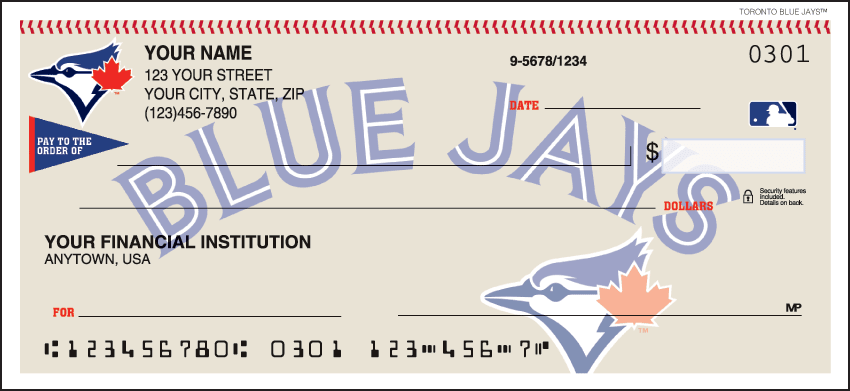 MLB - Toronto Blue Jays Checks - click to view larger image