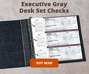 Executive Gray Desk Set Checks