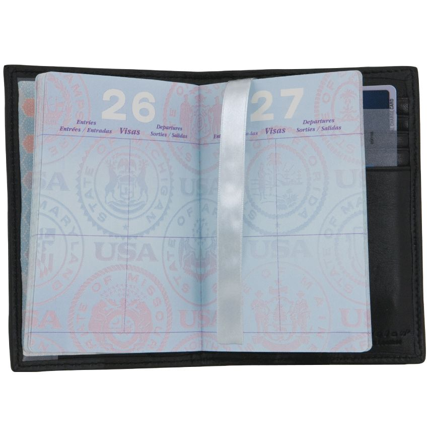 Black RFID Leather Passport Case - click to view larger image