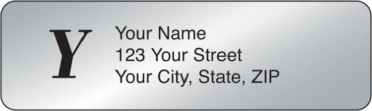 Silver Monogram Address Labels - 500 qty - click to view larger image