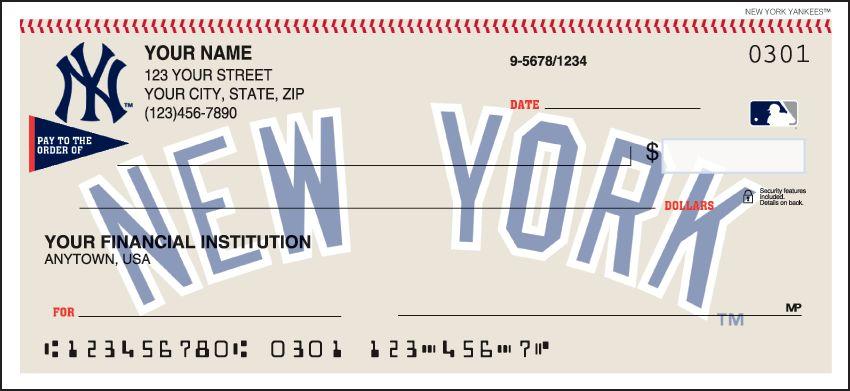 MLB - New York Yankees Checks - click to view larger image