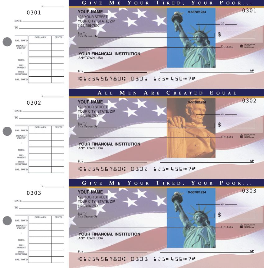 Stars and Stripes  Desk Set Checks - click to view larger image