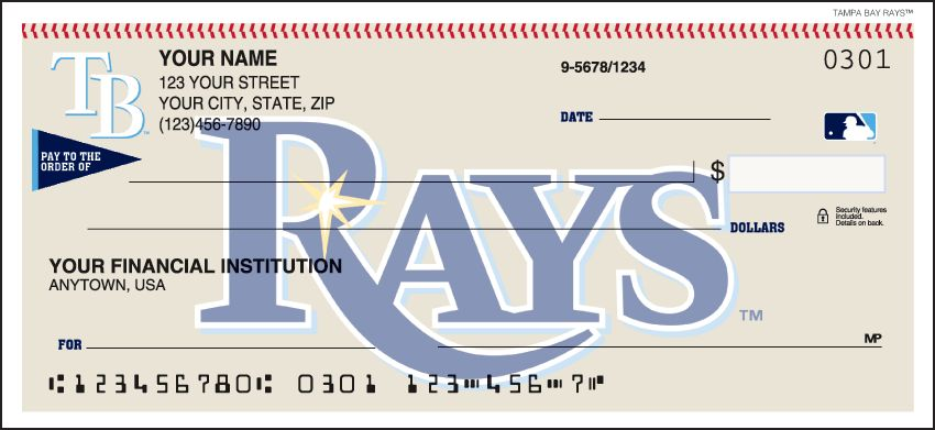 MLB - Tampa Bay Rays Checks - click to view larger image