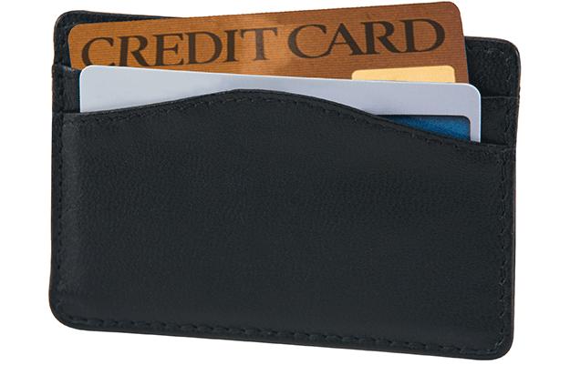 Leather Card Sleeve, Black RFID Wallet