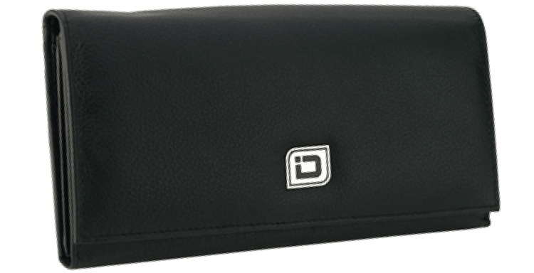 Ladies Leather Clutch Wallet, Black RFID Wallet