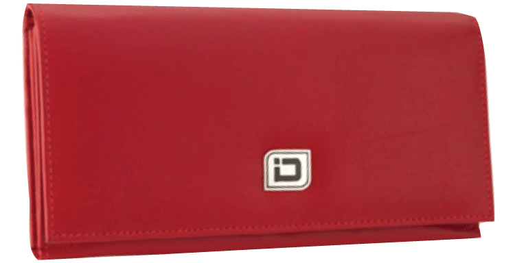 Ladies Leather Clutch Wallet, Red RFID Wallet