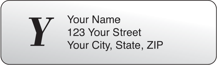 Clear Monogram Address Labels - 500 qty - click to view larger image