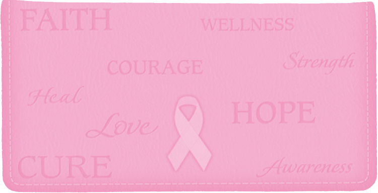 Hope for the Cure Breast Cancer Awareness Side Tear Checkbook Cover - click to view larger image