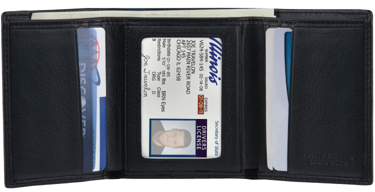 RFID Black Leather Trifold Wallet - click to view larger image