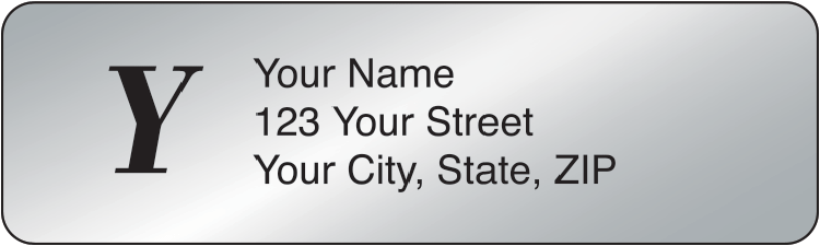 Silver Monogram Address Labels - click to view larger image