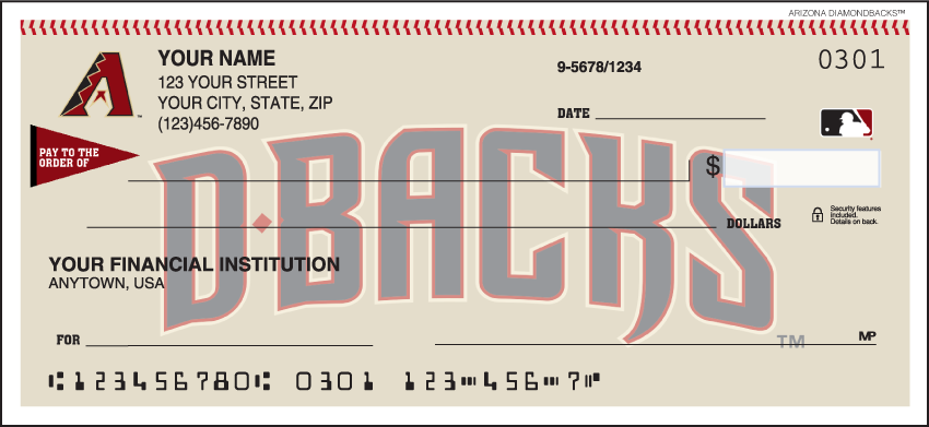 Arizona Diamondbacks Sports Personal Checks – 1 Box – Singles