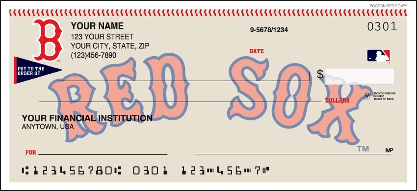 Boston Red Sox Sports Personal Checks - 1 Box - Singles