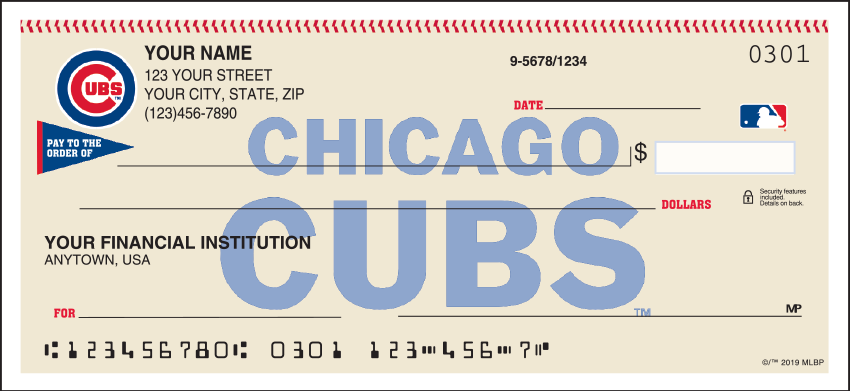 Chicago Cubs Sports Personal Checks – 1 Box – Singles