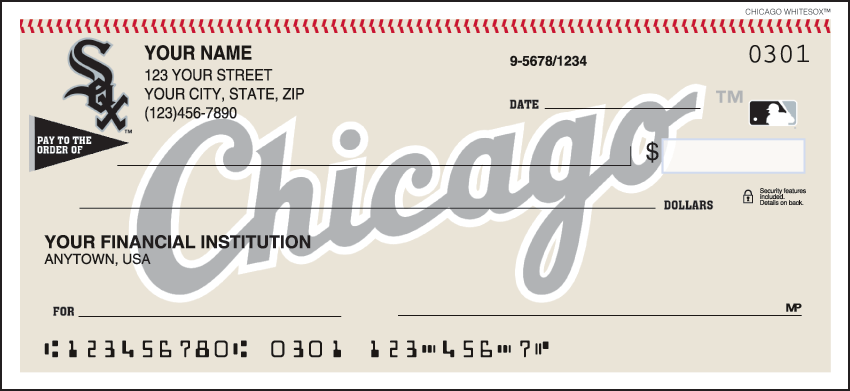 Chicago White Sox Sports Personal Checks - 1 Box - Singles