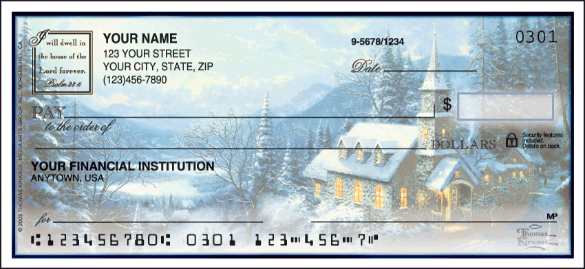 Image of Churches Thomas Kinkade Side Tear Personal Checks