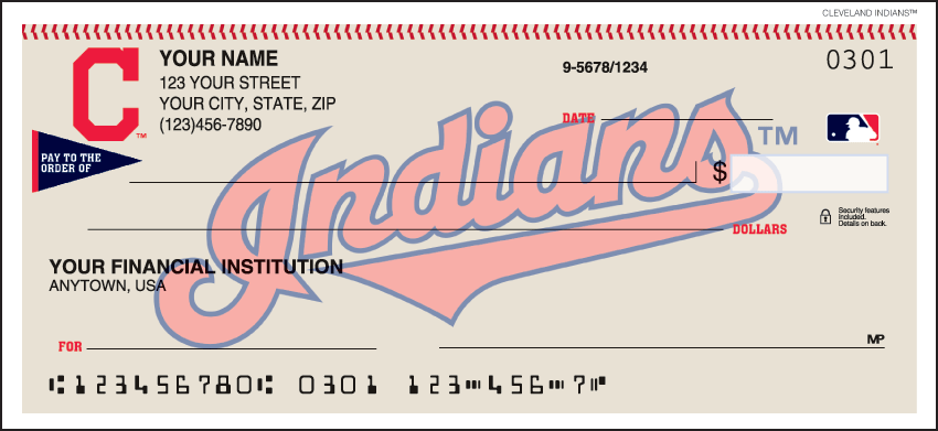 Cleveland Indians Sports Personal Checks - 1 Box - Singles