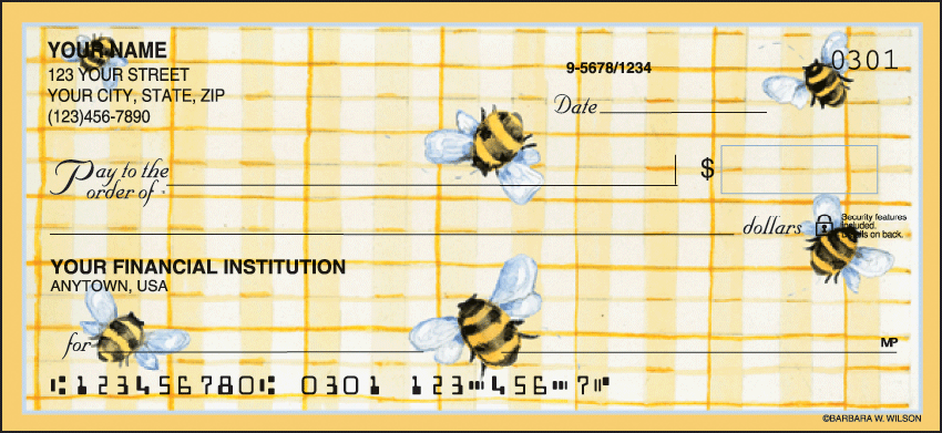 Cute as a Bug Garden Personal Checks - 1 Box - Singles