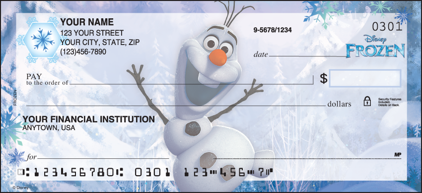 Disney Frozen Disney Personal Checks - 1 Box - Duplicates