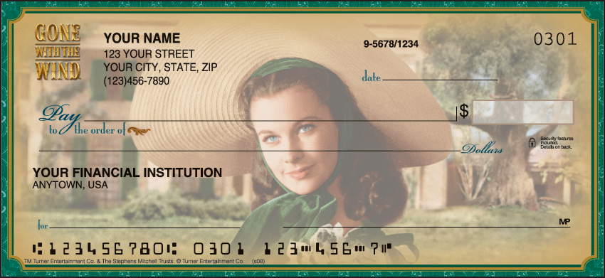 Gone with the Wind Movie Personal Checks - 1 Box - Duplicates