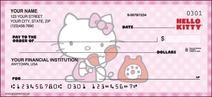 Hello Kitty Checks Personal Checks - 1 Box - Singles