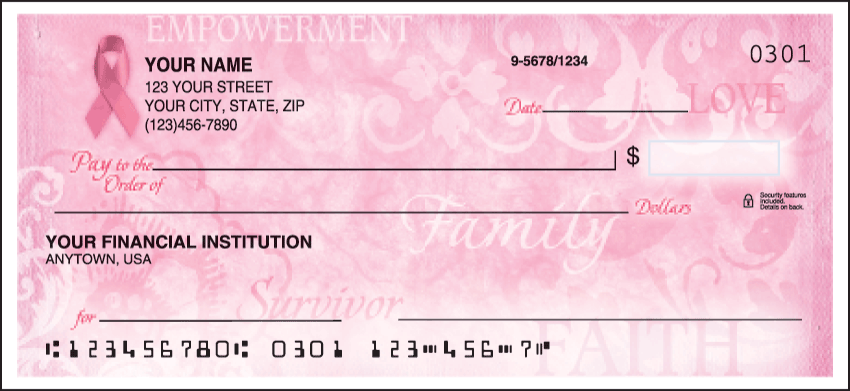 Hope for the Cure Personal Checks - 1 Box - Duplicates