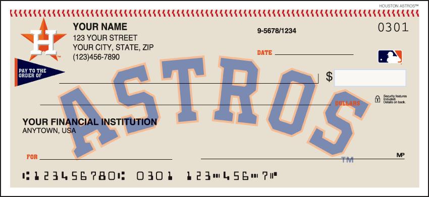Houston Astros Sports Personal Checks - 1 Box - Duplicates