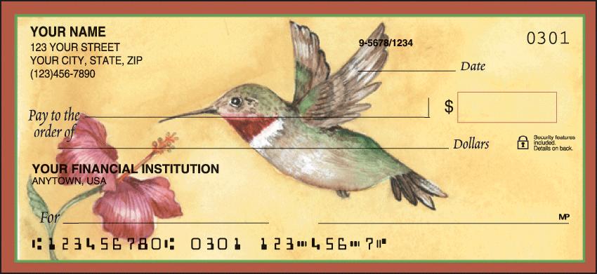 Hummingbirds Animal Personal Checks - 1 Box - Duplicates