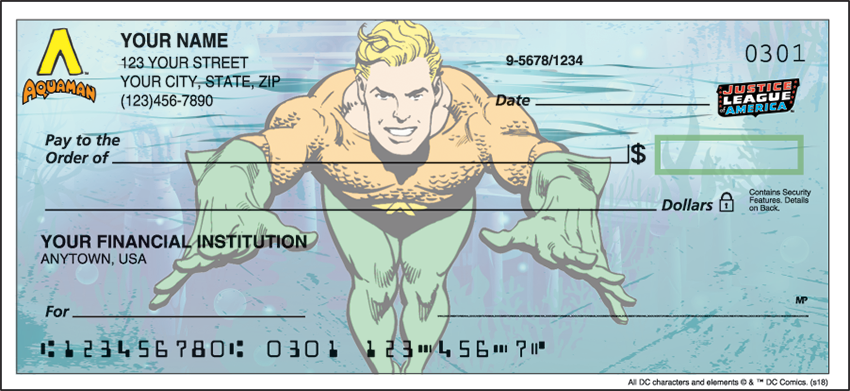 The Justice League Warner Bros Personal Checks - 1 Box - Duplicates