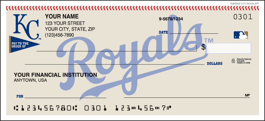 Kansas City Royals Sports Personal Checks - 1 Box - Duplicates