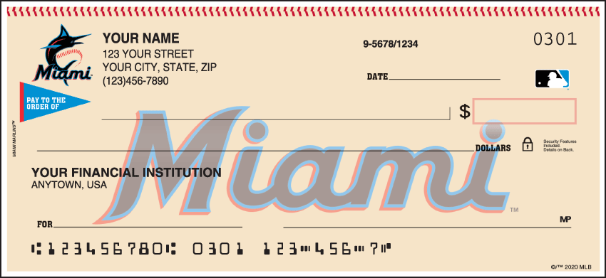 Miami Marlins Sports Personal Checks - 1 Box - Singles