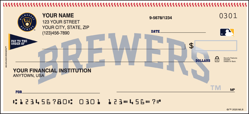 Milwaukee Brewers Sports Personal Checks - 1 Box - Singles