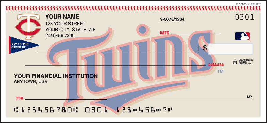 Minnesota Twins Sports Personal Checks - 1 Box - Singles